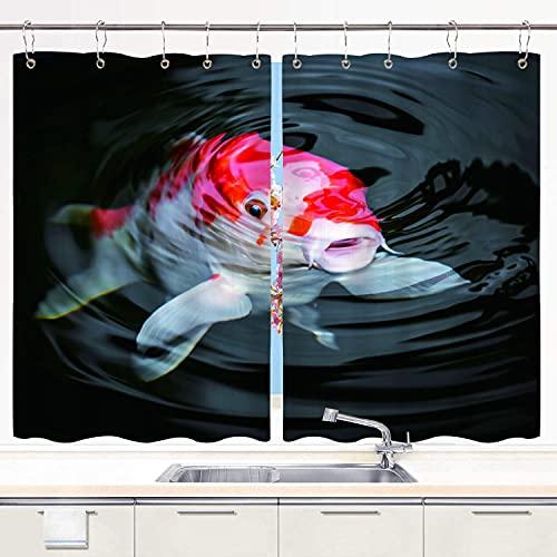 MIFSOIAVV Cortina de Cocina Pez Rojo Japón Carpa koi en Estanque Amoníaco Cría de amonio Carbohidratos Cultivo Juegos de Tratamiento de Ventanas Cortinas 2 Paneles con Ganchos,140x100CM