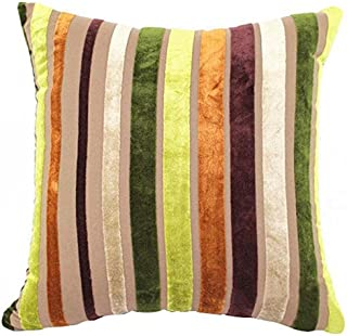 Eazyhurry Velvet Stylish Striped Soft Cushion Cover with Invisible Zipper Vintage European Standard Size Cushion Sham Decorative Body Cushion Protector Pillow Case Green 28