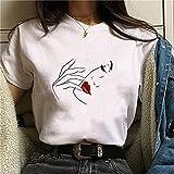 Momyeah Manga Corta Sombra de Ojos para Mujer, pestañas, Labios Rojos, Camiseta gráfica, Cuello Redondo, algodón, Manga Corta, Maquillaje Femenino, expresión Facial, 14, L