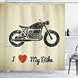 Ambesonne Manly Shower Curtain, Vintage Grunge Flat Looking Motorcycle and I Love My Bike Text Silhouette, Cloth Fabric Bathroom Decor Set with Hooks, 70' Long, Beige Charcoal
