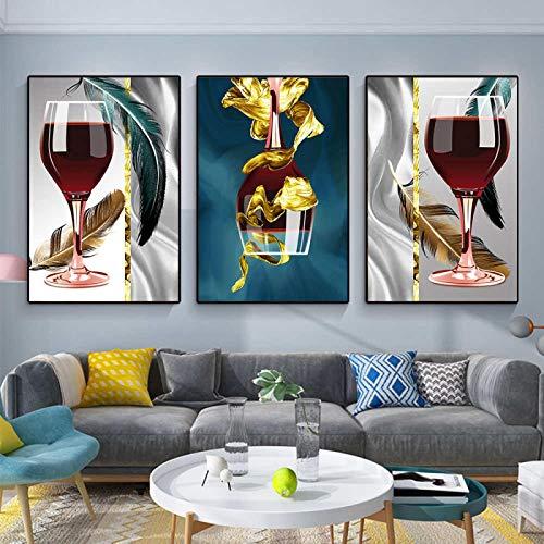 Cartel de impresiones de pintura de copa de vino tinto moderno Arte de la lona Bar Restaurante Cocina Comedor Sala de estar Decoración de la pared 20x30cmx3pcs Sin marco