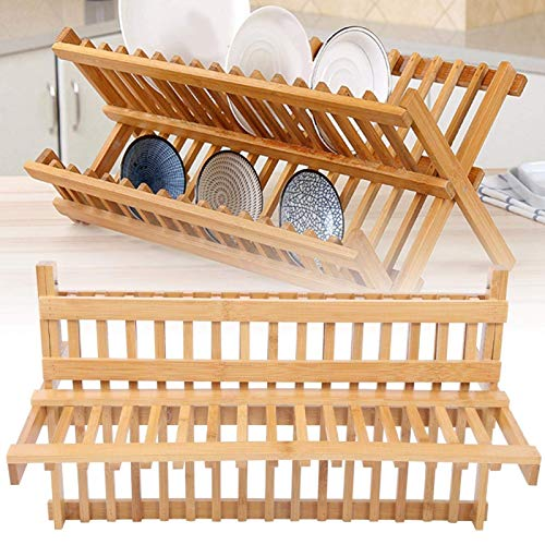 Bamboo Dish Drying Rack, Plate Holder Dish Rack Cup Drying Strainer for Dish, Plate, Bowls, Cups