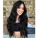 AOMOSA Pelucas de pelo ondulado largo y rizado negro natural de 28 pulgadas para mujer Peluca sintética de fibra resistente al calor para peluca diaria