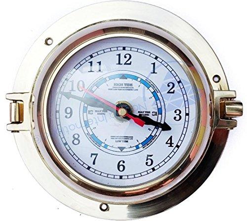 Reloj de pared de latón pulido premium con orificio para puerto, apertura de pirate; reloj de metal, color azul marino náutico, decoración marítima, regalo de Nagina Internacional