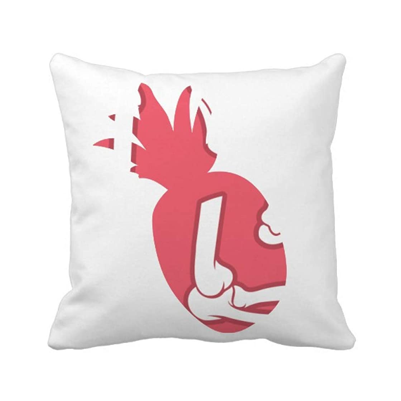 不機嫌ミンチ不格好人間の骨格の赤のイラスト漫画 パイナップル枕カバー正方形を投げる 50cm x 50cm