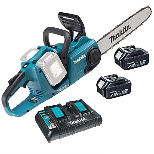 Makita DUC353Z 36V/18V Cordless Brushless Chainsaw with 2 x 5.0Ah Battery & Charger