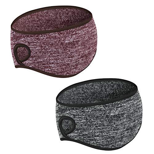 Stirnbänder 2 Stücke Winter Laufendes Stirnband Warm Komfortabel Wolle Vlies Elastisch Damen Sport Ohrenschützer mit Pferdeschwanzloch für Frauen Ohrenschutz für Yoga Ski Radfahren (Grau Braun)