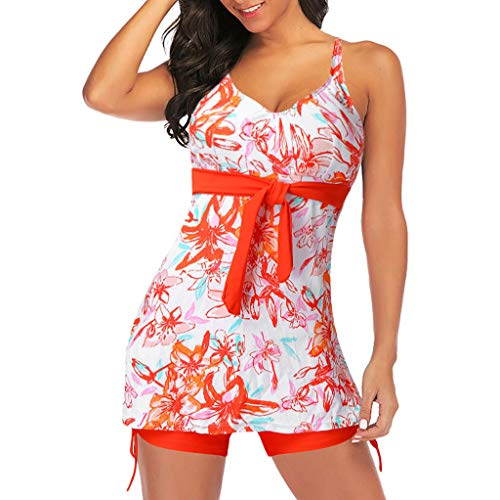 Redacel Women's Print Swimwear Tankini Set 2 Piece Top Swimsuit with Boyshorts (XL, Orange)