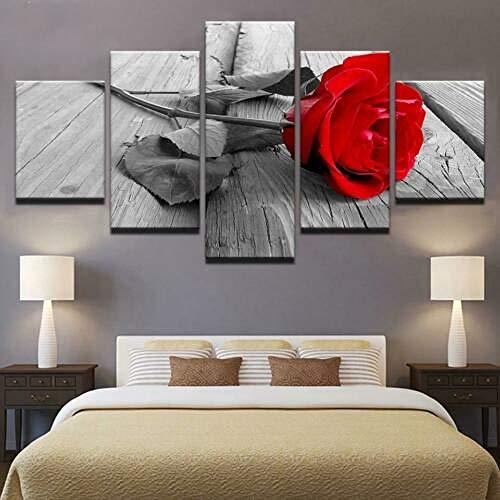 IJNHY 5 Piezas Cuadro sobre Lienzo De Fotos Rosa Roja En Blanco Y Negro Lienzo Impresión Cuadros Decoracion Salon 150×80Cm Cuadros para Dormitorios Modernos Mural Pared Listo Colgar