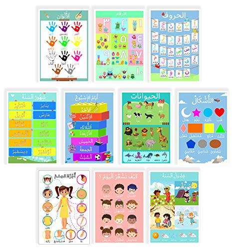 10 Arabic Posters Perfect for Toddlers Kids Preschool & Kindergarten Classrooms Include Arabic Alphabet Letters, Numbers, Colors, Shapes, and More.