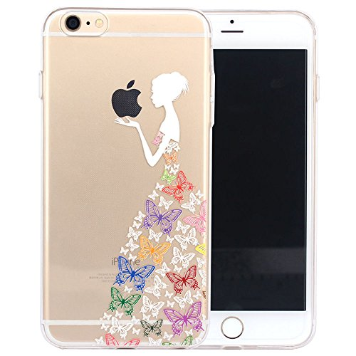 JIAXIUFEN TPU Gel Silicone Protettivo Skin Custodia Protettiva Shell Case Cover Per Apple iPhone 6 6S - White Colorful Butterfly Girl