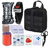 BUSIO First aid Trauma kit Tactical Bag, EMT Scissors, Tourniquet, Rail, cohesive Bandage, Israeli Bandage, Rescue Blanket Mylar, Survival Pipe