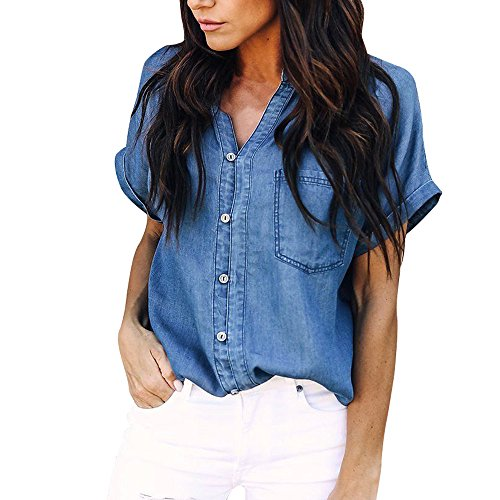 MINXINWY Camisas Camisetas Mujer Verano Originales, Moda Camisetas de Manga Corta Mujeres Camiseta de Mezclilla Camiseta con Cuello en V con Bolsillo Azul Vaquero Blusas
