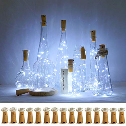 Decorman Wine Bottle Cork Lights, 15 Pack 10 LED Cork Shape Silver Copper Wire LED Starry Fairy Mini String Lights for DIY/Decor/Party/Wedding/Christmas/Halloween (Cool White)