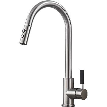 Chrome Double Handle Kitchen Sink Tap Kitchen Mixer Round Swivel Faucet LWH