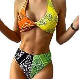 LOPADE Conjunto de Bikinis de Dos Piezas para Mujer Traje de baño con Estampado Floral Anudado Traje de baño Push up de Color con Costuras para Mujer Big Sale