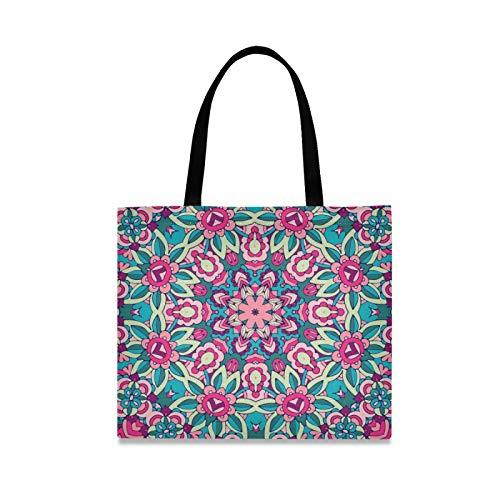 RURUTONG Mandala Boho bolsa de lona para mujeres niñas flores magnífico tótem bien hecho multiusos reutilizable comestibles playa compras bolso 2010046