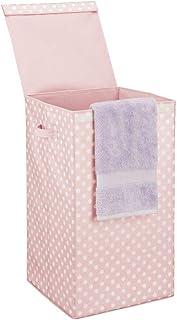 mDesign panier à linge moderne avec couvercle – bac à linge pliable avec poignées pour salle de bains – grande corbeille à...