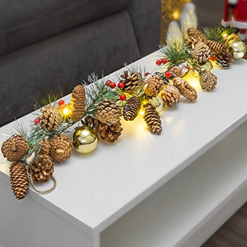 GloBrite Pre Lit Christmas Garland 1M 10 LED Fireplace Stair Decoration Decor for Xmas Festival Tree Display
