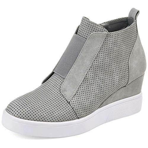 Sneakers Donna Zeppa Alte Stivaletti con Tacco Scarpe Eleganti Sport Ginnastica Pelle Mocassini Invernali Zip 4.5cm Ankle Boots Rosa Cachi Blu 34-43 GY37
