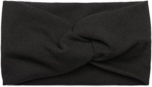 styleBREAKER Damen Haarband in Feinripp Optik mit Schleife, Twist Knoten, Stirnband, Headband 04026009, Farbe:Schwarz
