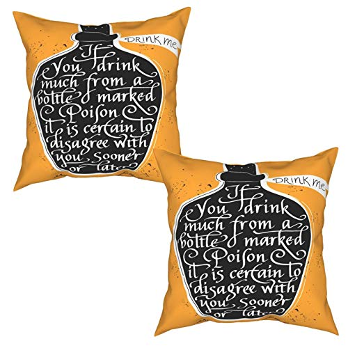 Paquete de 2 Fundas de Cojín Fundas de Almohada,Si Bebe Mucho de una Botella marcada como Veneno es,cuadradas Cojín Liso Decoración para el hogar Decoraciones para sofá Sofá Cama Silla (50x50cm) x2