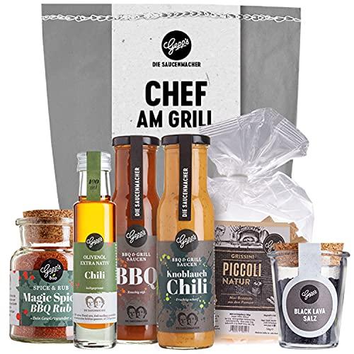 """Gepp's Feinkost ,,Chef am Grill"""" Wundertüte für Männer I Köstliches Grill-Geschenk mit 2 x Grillsaucen, Chili-Öl, Magic Spice Rub, Black Lava Salz & Grissini I Geschenkidee zum Grillen"""