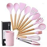 Xianshiyan Juego de utensilios de cocina de silicona de 9/11 piezas resistentes de utensilios de cocina con mango de madera para el hogar