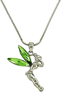 DianaL Boutique Silvertone Fairy Tinkerbell Pendant Necklace Green Crystal Wings Gift Boxed Tinker Bell Fashion Jewelry for Women Teens and Girls
