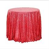 YALINA Cubierta De Mesa De Fiesta Elegante Cubierta De Mantel De Lentejuelas Brillante Mantel Redondo Decoración De Fiesta De Boda Círculo 180cm A02