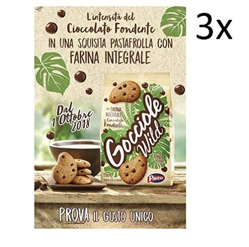 3x Pavesi Kekse Gocciole Wild Integrali mit Vollkornmehl 350g cookies biscuits