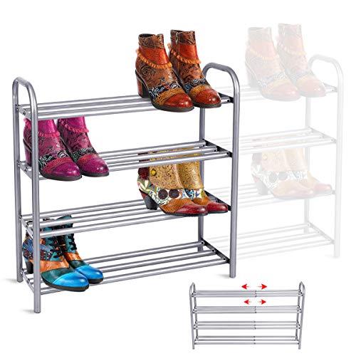 GEMITTO Shoe Rack Organizer for Closet Entryway, 4 Tiers Adjustable Heavy Duty...