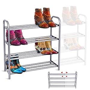 GEMITTO Zapatero de Extensible 4 Niveles Zapatero de Acero Apilable y Extensible Shoe Rack de Metal (60-106cm x 22.5cm x 61.5cm) (Plata)