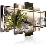 murando - Cuadro de Cristal acrílico Flores Lirios 200x100 cm Impresión de 5 Piezas Pintura sobre Vidrio Imagen Gráfica Decoracion de Pared Abstracto b-C-0153-k-o
