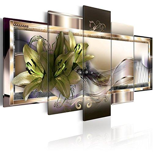 murando Acrylglasbild Blumen 200x100 cm 5 Teilig Wandbild auf Acryl Glas Bilder Kunstdruck Moderne Wanddekoration - Lilien Ornament Diamant Abstrakt b-C-0153-k-o