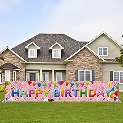 """Tifeson Happy Birthday Banner Rose Gold Outdoor Decorations - Large 98"""" x 18"""" Birthday Party Decorations Banner Yard Sign - Bday Party Sign Outdoor & Indoor Hanging Decor"""