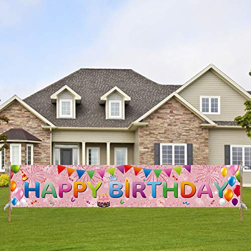 Tifeson Happy Birthday Banner Rose Gold Outdoor Decorations - Large 98' x 18' Birthday Party Decorations Banner Yard Sign - Bday Party Sign Outdoor & Indoor Hanging Decor