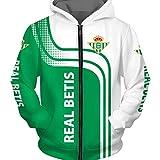 QAQQQ Hombres Patrón Suéter con Capucha R.Betis Fútbol De Deporte De La Cremallera Manga Larga Camiseta Caliente A-L
