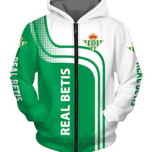 QAQQQ Hombres Patrón Suéter con Capucha R.Betis Fútbol De Deporte De La Cremallera Manga Larga Camiseta Caliente A-XL