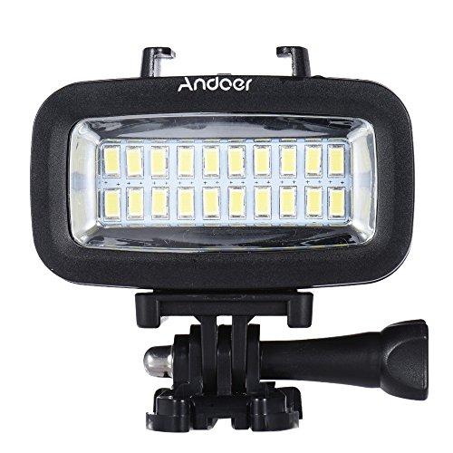 Andoer High Power 700LM Tauchen Video Fill-in-Licht-LED-Beleuchtung-Lampe Wasserdicht 40M 1900mAh eingebaute wiederaufladbare Batterie mit Diffusor für GoPro SJCAM Xiaomi Yi Sport Action Kamera