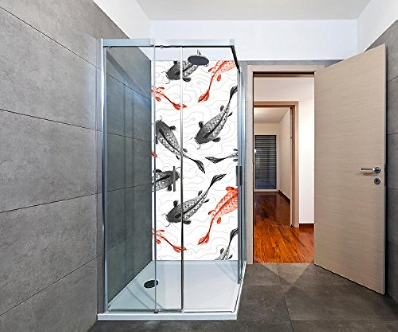 Wandmotiv24 Duschrückwand rote und Schwarze Koi-Karpfen Duschwand Design 90 x 200cm (B x H) - Plexiglas 4mm, Fugen