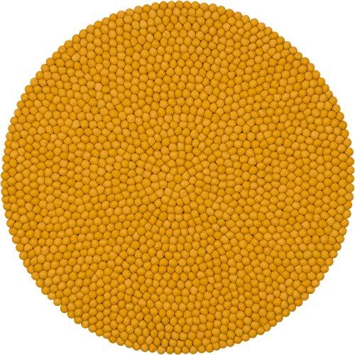 myfelt Klara Filzkugelteppich — 70cm, rund — Gelb