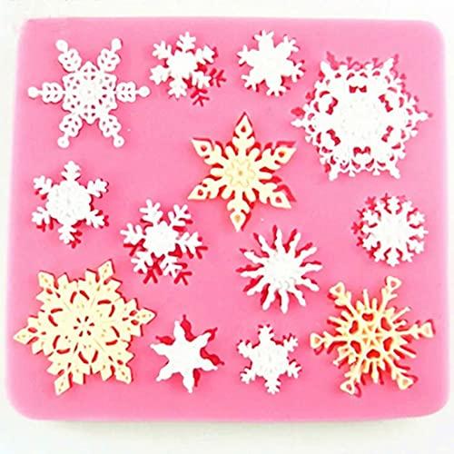 PJTL Adorno de Navidad 3D Copo de Nieve Encaje Chocolate Molde de Silicona Herramienta de decoración de Pasteles de Fiesta DIY Molde de Cocina para Hornear