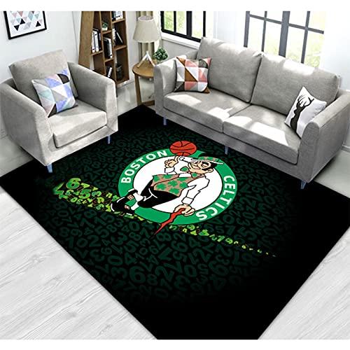 Bucks Celtics Heat Lakers Home Alfombra grande, Rockets Suns Warriors Decoración de Piso Alfombra para Adolescentes Niños Regalos Baloncesto Alfombras Dormitorio Celtics- 60 * 90