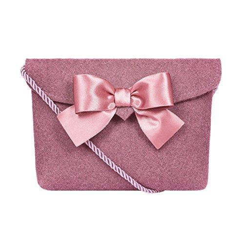Almbock Trachten-Tasche Lilly in rosa altrosa pink - Trachtentasche handmade, handgemacht, aus 100% echtem Wollfilz, Tasche mit Schleife