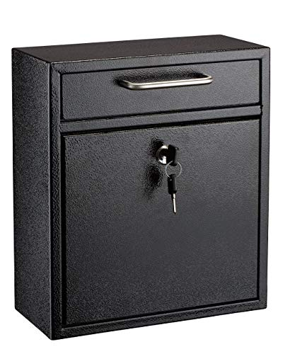 AdirOffice Ultimate Drop Box Wall-Mounted Mailbox - Hanging Secured Postbox - Durable Spacious Key - Perfect for After Hours Deposits Payments Key and Letter Drops