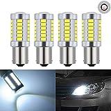 KaTur 4pcs BAU15S 7507 1156PY PY21W 5630 33-SMD Blanc 900 Lumens 8000K Super Bright LED Tourner Le Frein d'arrêt Signal Signal Lampe Ampoule 12V 3.6W