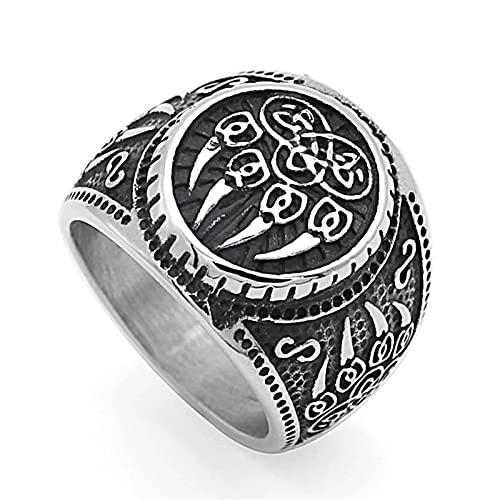 FLQWLL Viking Bear Claw Ring Men's Stainless Steel Viking Celtic Knot Bear Paw Nordic Amulet Ring,14