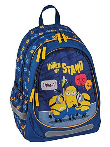 Undercover MNIO7560 - Schulrucksack Minions mit 2 Hauptfächern, Fronttasche, Seitentaschen, 2-Wege Reißverschlüsse & höhenverstellbaren, gepolsterten Schultergurten, für Schule, Freizeit & auf Reisen