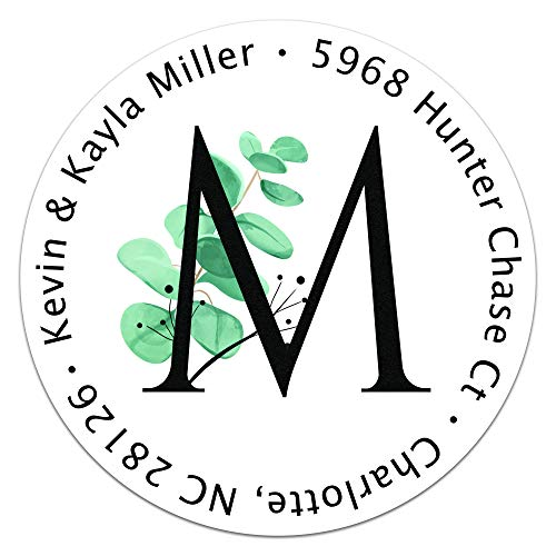 Personalized Return Address Labels - Custom Mailing Labels for Envelopes, Self Adhesive Flat Sheet Round Personalized Name Stickers Eucalyptus Monogram Design (1.5 inch (Pack of 120))
